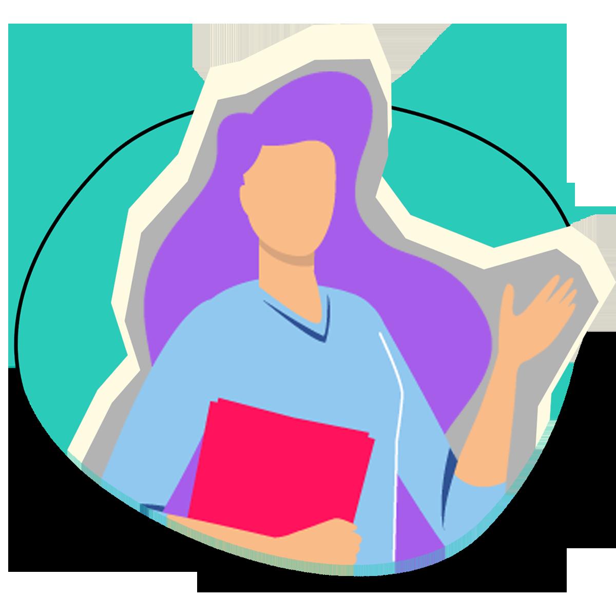 Mujer de cabello morado y playera azul sosteniendo una carpeta roja para invitar a colaboradores a unirse al equipo.